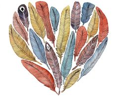 Feather Heart Painting Watercolor Art Large Archival by RiverLuna