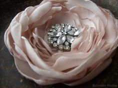 Wedding Hair Flower, Pink Champagne And Rhinestone Hair Flower, Bridal Accessory, Made To Order on Etsy, $28.00