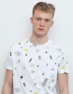 Pull&Bear - hombre - camisetas - camiseta print piñas y flores - blanco - 09238520-I2015