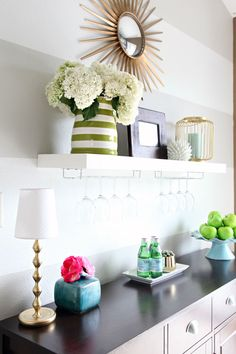 great idea to hang wine glasses under a floating shelf in the dining room; IHeart Organizing: IHeart My Home - Home Tour! Striped Room, Striped Walls, Hacks Ikea, Dining Room Buffet, Decoration, Home Projects, Floating Shelves, Sweet Home, Room Decor