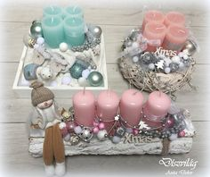 Pin by Eszter Szabó on X-mas Christmas Advent Wreath, Pink Christmas Decorations, Christmas Lanterns, Christmas Swags, Noel Christmas, Christmas Centerpieces, Rustic Christmas, Christmas Crafts, Christmas Inspiration