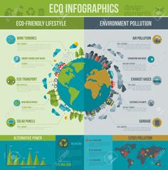 Environmental Protection and Pollution by kotoffei Ecology Infographics. Environmental template with flat icons. Environmental protection and Pollution. Go gree Earth Day Posters, Green Earth, Site Website, Creative Sketches, Pencil Illustration, Save The Planet, Graphic Design Art, Business Card Logo, Ecology