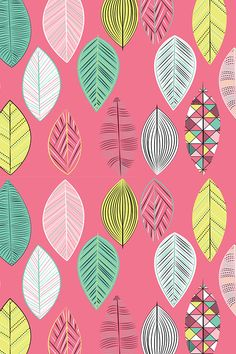 Pink leaves with geometric shapes by nancysaurusrex. Aztec Phone Wallpaper, Pink Wallpaper Backgrounds, Wallpaper Iphone Disney, Trendy Wallpaper, Flower Wallpaper, Screen Wallpaper, Pattern Wallpaper, Cute Wallpapers, Wallpaper Desktop