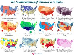 The Southernization of America in 12 maps.  Still think the North won the Civil War? Then how do you explain the slow-but-sure Southernization of America? While we were busy patting ourselves on the back for being the most wealthy and free nation in the world, the Old South took over the GOP and began forcing its values and beliefs back onto the rest of us.