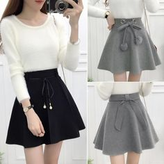 Black/grey tall waist skirt SE11066      Use coupon code #cutekawaii for 10% off  #valentinesday #valentine #skort #skirt #clothes #clothing #gifts #giftideas