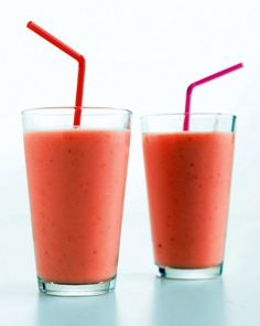 Strawberry, Mango, and Yogurt Smoothie _   You can use fresh or frozen fruit in this smoothie and substitute orange juice for the apple.