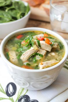 Chicken Vegetable Soup with Spinach, skip the peppers.