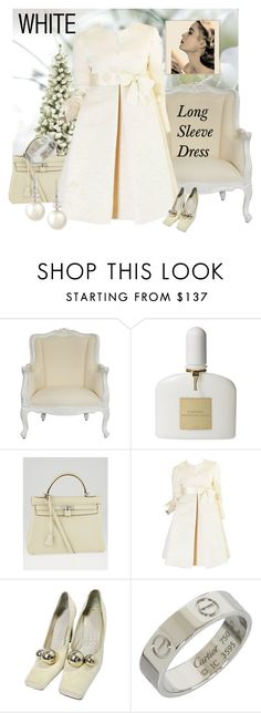 """""""1960s Couture Gustave Tassell Pleated Silk Dress"""" by kapua-blume ❤ liked on Polyvore featuring Tom Ford, Hermès, Louis Vuitton, Cartier, Belpearl, Grace and longsleeve"""