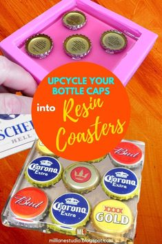 Cast your own resin coasters with beer bottle caps. They make a fun talking point in a games room at a home bar or in a mancave. These DIY resin coasters are a great way to recycle something you'd normally discard and a fun and practical craft. Diy Resin Coasters, Bottle Cap Coasters, Bar Coasters, Beer Bottle Caps, Beer Bottles, Novelty Gifts For Men, Diy Gifts For Men, Wine Cupcakes, How To Make Resin