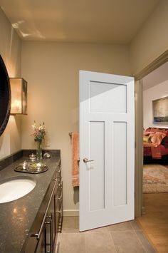 The Comprehensive Details Of The Best Craftsman Interior Doors — Interior & Exterior Doors Design Bathroom Doors, Wood Bathroom, Bathroom Interior, Modern Bathroom, Craftsman Interior Doors, Exterior Doors, Door Alternatives, Interior Design Courses Online, Diy Bathroom Remodel