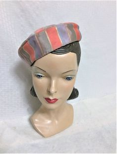 Items similar to Vintage Metallic Striped Rayon Pillbox Tilt Beret Hat Blue and Pink, WWII Era Women's Clothing Fashion, Pin Up, Old Hollywood Glam on Etsy Vintage Pink, Vintage Ladies, Vintage Hats, Beret, Pillbox Hat, Hats For Women, Ladies Hats, Old Hollywood Glam, Gold Lame