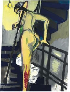 Rainer Fetting (German, b. 1949), Wendeltreppe gelb [Yellow spiral staircase], 1981. Oil and oilstick on canvas, 221.5 x 159.4 cm.