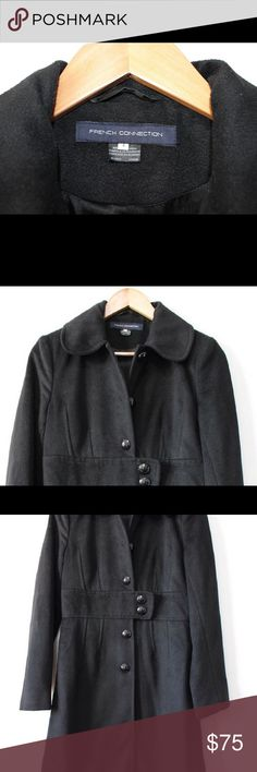 """French connection Junior Button down women peacoat ::PRODUCT DESCRIPTION:: Brand French Connection Stock No. O-00324 Brand FRENCH CONNECTION Condition Like New Rating 8.5 of 10 Description •FRENCH CONNECTION Lady's Coat •Black Color •Imported •Button down winter coat Style Regular Size •Size - 4 •Shoulder: 14"""" •Chest: 17 •Length: 39"""" •Sleeves:24"""" Materials SHELL: •80 % Polyester •20% Viscose LINING: •100% Acetate Cleaning Instructions DRY CLEAN Only Country of…"""