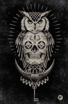 An owl incorporating a sugar skull. Clever