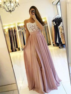 e0c173c44e1f Long chiffon cheap bridesmaid dresses with slit. Lace appliqed bodice  spaghetti strap dusty rose prom