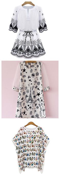 Elegant dresses with cute and interesting patterns/pictures. Check them out at 90% OFF!