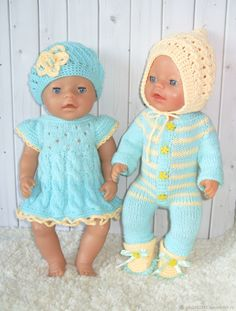 Doll Clothes Patterns, Clothing Patterns, Baby Born Clothes, Baby Vest, Knitting For Kids, Baby Dolls, Knitting Patterns, Crochet Hats, Couture