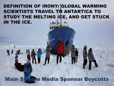 Definition of Irony: Global warming scientists travel to Antartica to study the melting ice, and get stuck in the ice Oh The Irony, Liberal Logic, Conservative Politics, Stupid People, God Bless America, Global Warming, The Fool, Climate Change, I Laughed