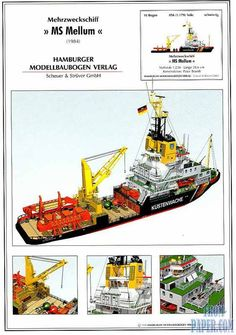 HMV Nr 19 - Mehrzweck MS ''Mellum'' - German multipurpose and water security ship Rc Boot, Explorer Yacht, Free Paper Models, Best Woodworking Tools, Paper Ship, Work Horses, Car Design Sketch, Wood Boats, Boat Stuff