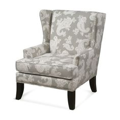 CMI Classic Chair Chelsea Wing Chair in Silver with Shiny Chrome Nails