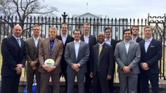 """President Obama offers shout-out to """"volleyball-playing Anteaters"""": Alumni from three of UC Irvine's four NCAA championship volleyball teams gather for White House celebration. Photo by Kathy Eiler, UC Irvine."""