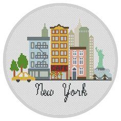 Modern Cross Stitch Pattern New York Modern City pattern Travel Cross stitch…