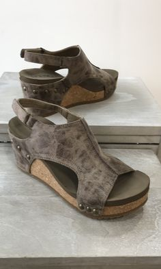 8a38505050ff London Wedge by Corkys-BROWN DISTRESSED Strap Heels