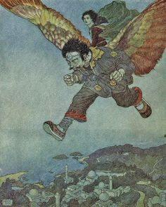 "Edmund Dulac - 'The eagle in the great forest flew swiftly,  but the Eastwind flew more swiftly still.'  from the story ""The Garden of Paradise"" in Stories from Hans Andersen (1911) by Aeron Alfrey, via Flickr"