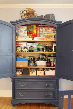 Painted Bunk Beds and Armoire in My Boy's Room. Naval, Sherwin Williams.  Lovely navy blue.