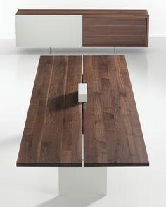 TIX Conference and Storage - Solid Wood walnut table - @Davis Furniture #interiordesign #design