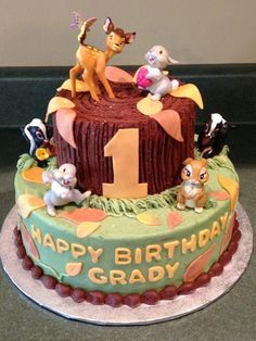 Bambi, Thumper & friends 1st Birthday cake idea.