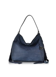 5fc50168bc Diane Von Furstenberg Voyage Boho Indigo Nubuck Leather Fringe Shoulder Bag
