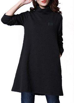 High Neck Long Sleeve Black Mini Dress on sale only US$26.37 now, buy cheap High Neck Long Sleeve Black Mini Dress at lulugal.com
