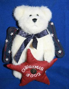 """Boyds Plush Bear Christmas 2002 Star Angel Wings Jointed Stuffed 6"""" Ornament"""