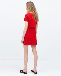 Image 2 of ASYMMETRICAL SKIRT JACQUARD DRESS from Zara