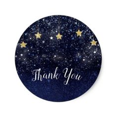 Under The Stars Starry Night Gold Blue Party Favor Classic Round Sticker - shower gifts diy customize creative