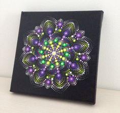 Original Dotart Green and Purple Mandala Painting on Canvas, 20x20cm Painting…