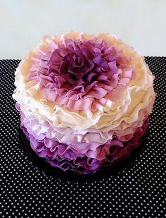 i heart motherhood: purple ruffle cake Gorgeous Cakes, Pretty Cakes, Amazing Cakes, Cupcakes, Cupcake Cakes, Shoe Cakes, Cake Fondant, Just Cakes, Cakes And More