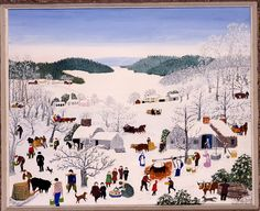 Sugaring Off [1945] is perhaps [Grandma] Moses' favorite subject... Moses gathered hundreds of magazine and newspaper clippings of barns, houses, people, animals, and machines to help her compose her pictures... Faces were not naturalistic but consisted of two dots for eyes and one curved stroke for a smiling mouth. A huge kettle is heating to boil the syrup, and a person in the mid-foreground is preparing sweet jack wax in the snow as a group of children watch...