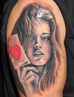 woman portriat tattoo | Portrait of Beautiful Women, women tattoos, portrait tattoos, tattoos ...