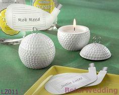 Favors_weddingの装飾の石鹸の泡LZ011と結婚しているゴルフクラブが付いているゴルフ・ボールの茶ライト蝋燭はカードを置く