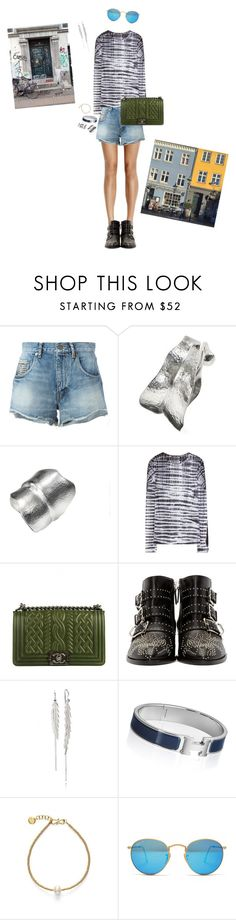 """""""Chill in Copenhagen"""" by isabella-simony ❤ liked on Polyvore featuring Yves Saint Laurent, Proenza Schouler, Chanel, Chloé, Hermès, Ray-Ban, jeanshorts, denimshorts and cutoffs"""
