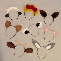 Farm Animal Ears Headbands pig sheep horse cow donkey goat bunny chicken Country western theme petting zoo barnyard birthday party favors baby children adult