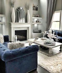 Navy Living Rooms, Blue Living Room Decor, Glam Living Room, Elegant Living Room, New Living Room, Formal Living Rooms, Living Room Designs, Navy Blue And Grey Living Room, Blue Living Room Furniture