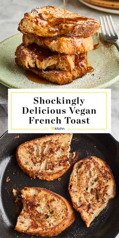 Shockingly Delicious Vegan French Toast Flaxseed meal stands in for eggs in this surprisingly delicious vegan French toast. Breakfast And Brunch, Vegan Breakfast, Breakfast Recipes, Breakfast Potatoes, Breakfast Muffins, Mini Muffins, Muffin Recipes, Overnight French Toast, French Toast Bake