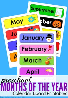 Teach your preschooler the months of the year with this free set of calendar board printables!