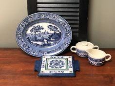 Blue and White Arrangement for Kitchen Dining Decor Blue Willow Vibe Restaurant Decor Rustic Farmhouse Cottage Chic  I Ship Globally Dining Decor, Kitchen Dining, Blue Willow China, Ranch Decor, Equestrian Decor, Willow Pattern, White Dinner Plates, Cottage Christmas, Faux Stained Glass
