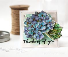 Watercolored Mondo Hydrangea Card by Julia Stainton featuring Essentials by Ellen Stamps and Dies