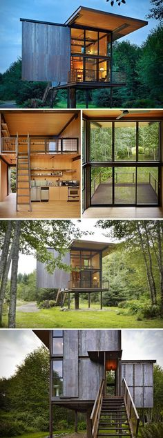 Steel Shed Cabin- Designed by Olson Kundig Architects, this structure in Washington may appear to be a steel shed at first, but step inside, and you'll see it's the perfect weekend getaway.