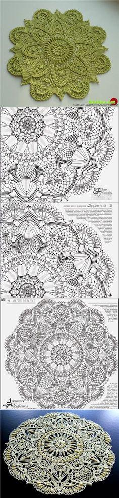 Crochet slippers diagram patterns 15 ideas for 2019 Crochet Doily Diagram, Crochet Mandala Pattern, Crochet Patterns, Tatting Patterns, Crochet Scarf Easy, Crochet Round, Crochet Dollies, Crochet Lace, Thread Crochet